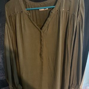 Olive green long sleeve shirt.